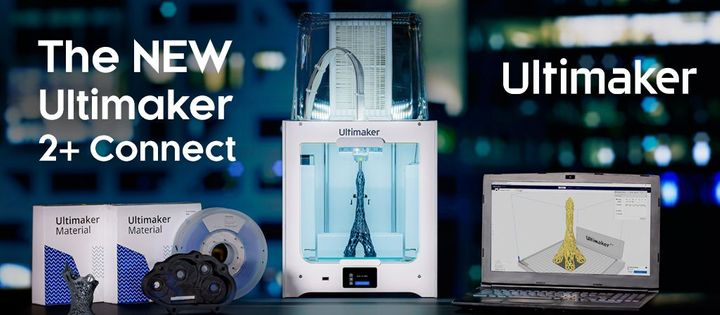 New Ultimaker 2+ Connect Single nozzle 3D printer and Air Manager accessory