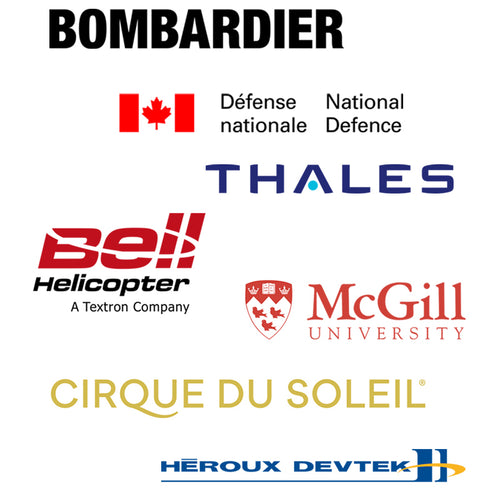 Picture of different logos of companies that trust Voxel Factory such as Bombardier, National Defense, Thales, Bell Helicopter, McGill University, Heroux Devtek, Cirque du Soleil