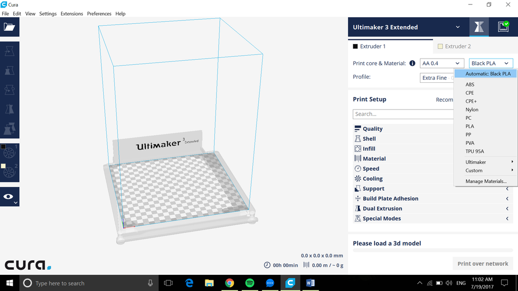 Ultimaker 3 extended 3D printer at Voxel Factory Cura optimized profiles