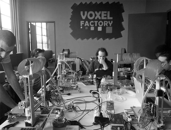 Historical Picture of Voxel Factory Workshop with Prusa Mendel i2 3D printers