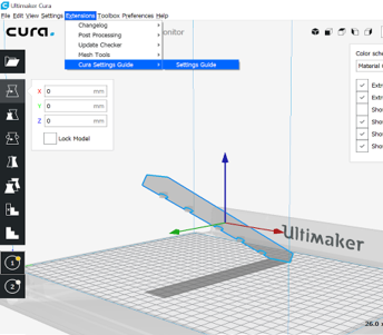 Picture of where to find the Cura settings Guide in Cura 3.5