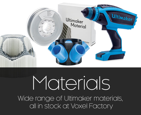 Ultimaker materials available at Voxel Factory thumbnails