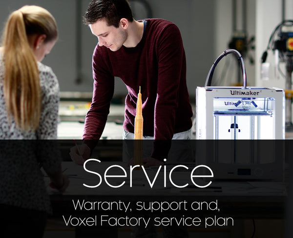 Warranty, support and Voxel Factory service plan for Ultimaker