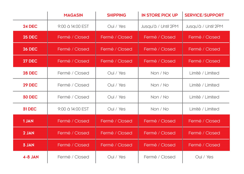 Voxel Factory Montreal Store 2020 holidays schedule