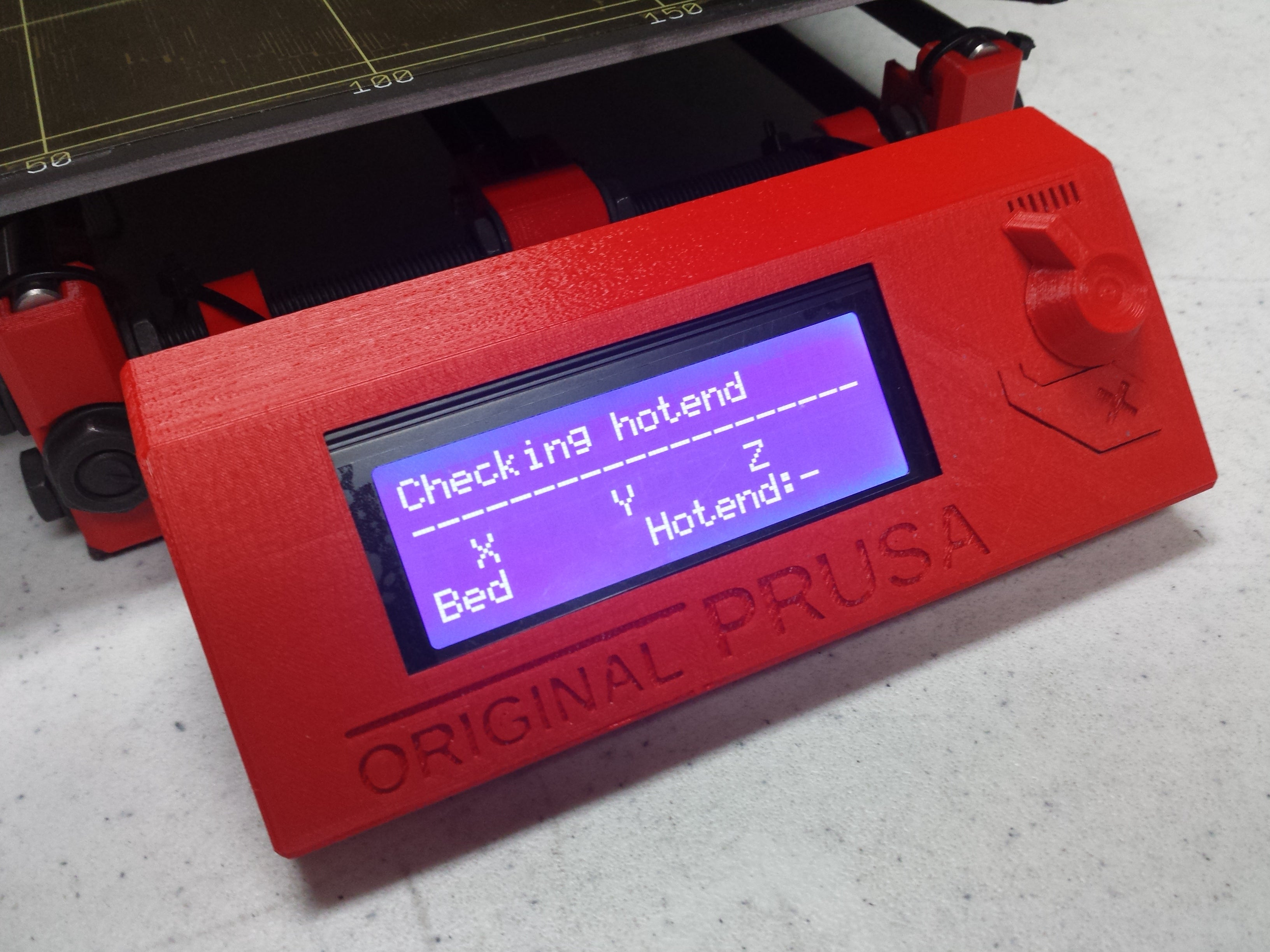 Picture of LCD controller screen of Prusa i3 MK2 3D printer