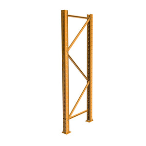 "Montant boulonné - 42"" de large x 96"" de haut, orange 14ga, assemblée. --  HD Pallet racking bolted frame 42"" wide x 96"" high, 14 gauge, orange"