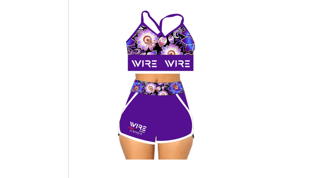 Wire Flex Floral & Stripes Set -Women Gym Shorts Set