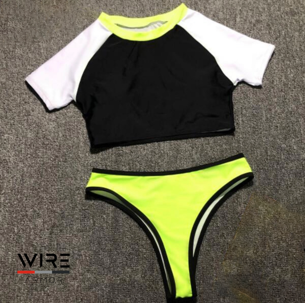 Wire Armor High Waist Neon Bikini Set