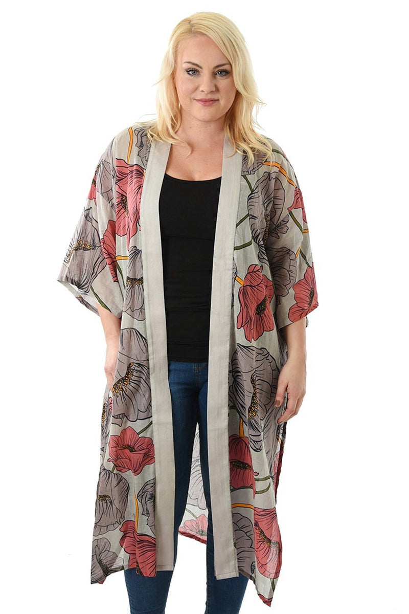 Kimono Pink Grey Floral Lang | Youtrend