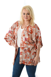 Kimono Pink Oriental Floral Kort | Youtrend