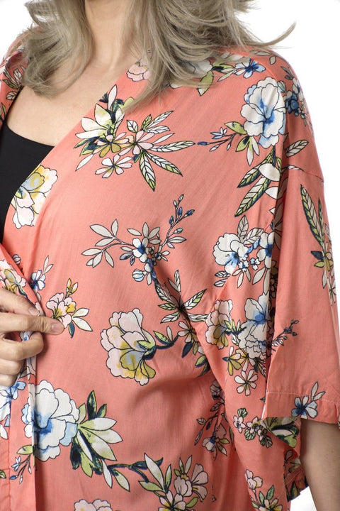 Kimono Coral Flower Print Kort | Youtrend
