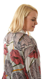 Kimono Pink Grey Floral Kort | Youtrend