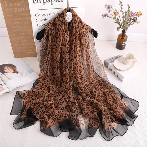 Luxus Chiffon skjerf Leopard Print Light Brown | Youtrend
