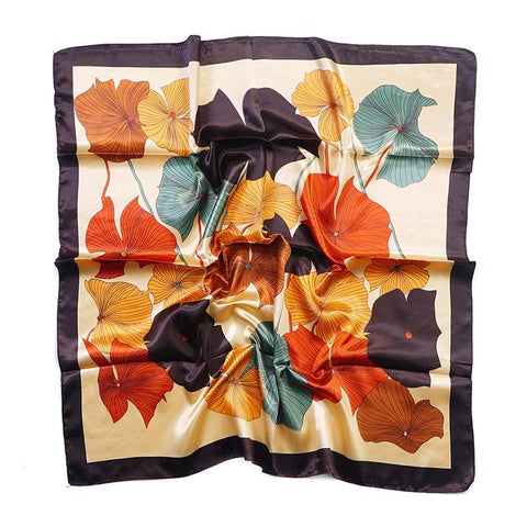 Tørkle Lotus print i Satin Silk feel Oransje | Youtrend