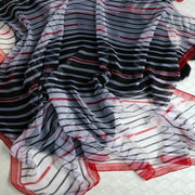 Luxus Chiffon skjerf Stripe Print Red | Youtrend
