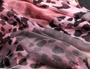 Luxus Chiffon skjerf Leopard Print Pink | Youtrend
