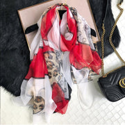 Luxus Chiffon skjerf Leopard Print Red | Youtrend