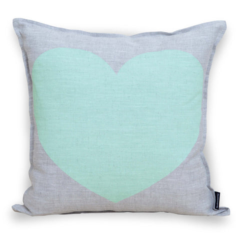 Just Love Your Precious Heart Cushion Cover - Mint