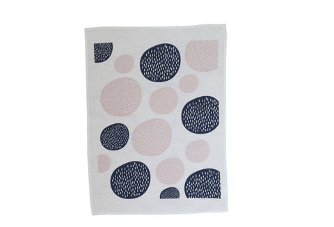 Winter Elm Tea Towel - Navy/Pink