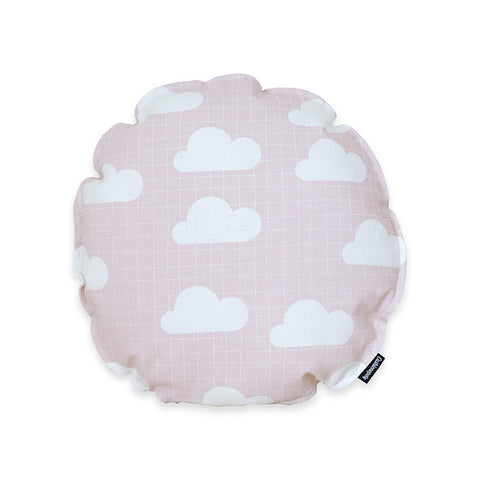 Graphic Clouds Round Cushion Cover - Pink