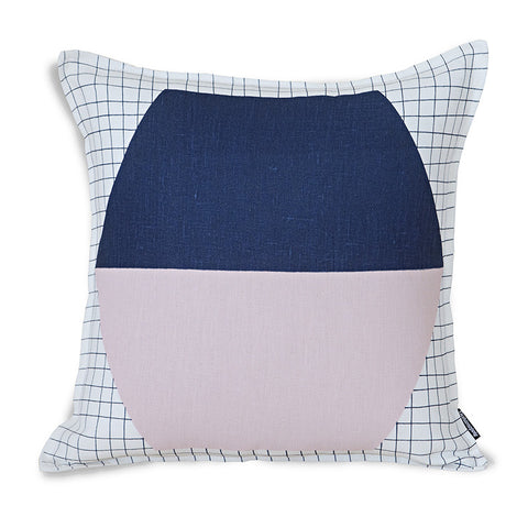 Soft Grid Hexagon Cushion Cover - Navy/Pink