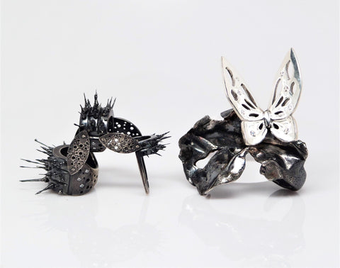 Evolution Kinetic Ring Set handcrafted by Christina Grace of TIN HAUS Jewelry.