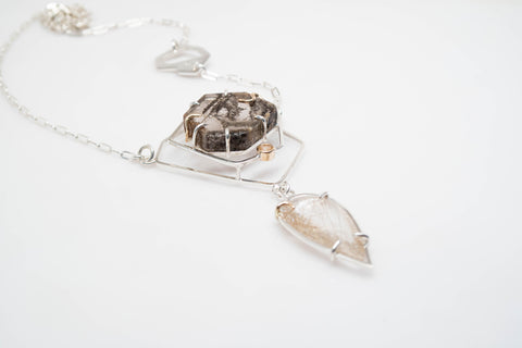 The Fragmentation Necklace - A one-of-a-kind necklace - Handmade with sterling silver, 14k yellow gold, brazilian quartz, rutilated quartz, and natural white diamonds.