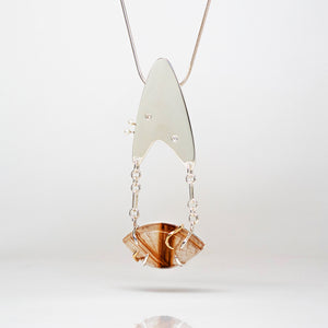 Amoeba Pendant - Sterling Silver, 14k Yellow Gold, Rutilated Quartz, Diamonds, Pearls - TIN HAUS® Jewelry
