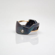 Load image into Gallery viewer, Men's Andromeda Ring - Smooth, Oxidized, 14KT Yellow Gold, Sterling Silver, White Diamonds - TIN HAUS Jewelry