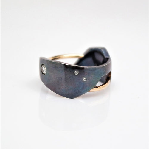 Men's Andromeda Ring - Smooth, Oxidized, 14KT Yellow Gold, Sterling Silver, White Diamonds - TIN HAUS Jewelry