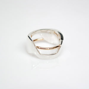 Men's Andromeda Ring - Smooth, Polish, 14KT Yellow Gold, Sterling Silver, White Diamonds - TIN HAUS Jewelry
