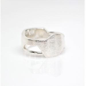 Men's Andromeda Ring - Brush-Textured, Polish, Sterling Silver - TIN HAUS Jewelry