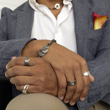 Load image into Gallery viewer, Andromeda and Solar Rings with Presence Chain Jewelry in Men's Styling - TIN HAUS Jewelry