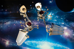 Anima Earrings - 14K Yellow Gold, Sterling Silver, Rutilated Quartz, Rose Quartz, Rhodolite Garnet, White Topaz - TIN HAUS® Jewelry