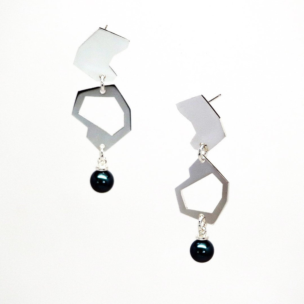 Asteroid Earrings - Sterling Silver, Freshwater or Vegan Friendly Pearls - TIN HAUS Jewelry