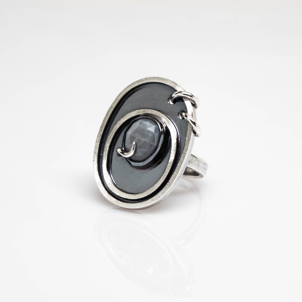 Astro Ring - Sterling Silver, Grey Sapphire - TIN HAUS