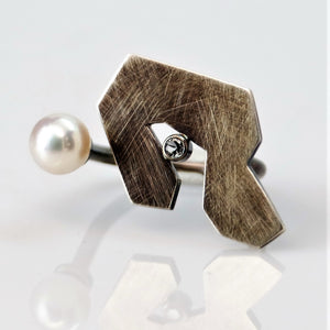 Contemplation Ring 1 in Patina - Sterling Silver, White Topaz, White Freshwater Pearl - TIN HAUS Jewelry