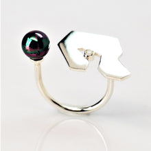 Load image into Gallery viewer, Contemplation Ring 1 in High Polish - Sterling Silver, White Topaz, Peacock Freshwater Pearl - TIN HAUS Jewelry