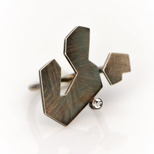 Contemplation Ring 2 in Patina - Sterling Silver, White Topaz - TIN HAUS Jewelry