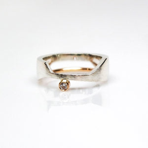 The Deity Ring - Polish, Smooth Texture, 14KT Yellow Gold, Sterling Silver, CVD Diamond - TIN HAUS Jewelry