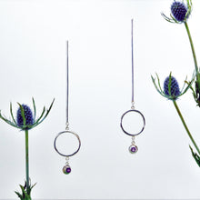 Load image into Gallery viewer, Descend Earrings - Sterling Silver, Amethyst Faceted Stones - TIN HAUS Jewelry