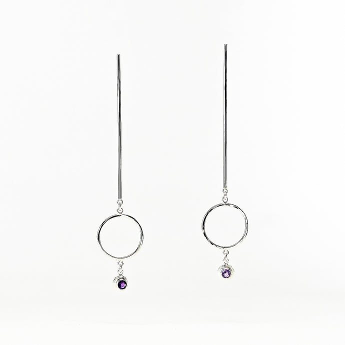 Descend Earrings - Sterling Silver, Amethyst Faceted Stones - TIN HAUS Jewelry