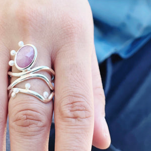 Diatom Ring with the Cyano Ring - Sterling Silver, Pink Sapphire, Pearls - Size 8.5 - TIN HAUS® Jewelry