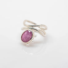 Load image into Gallery viewer, Diatom Ring - Sterling Silver, Pink Sapphire, Pearls - Size 8.5 - TIN HAUS® Jewelry