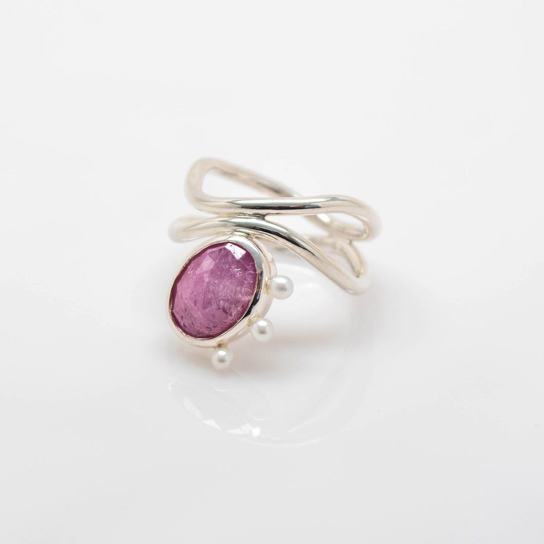 Diatom Ring - Sterling Silver, Pink Sapphire, Pearls - Size 8.5 - TIN HAUS® Jewelry