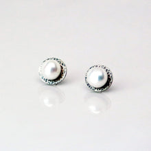 Load image into Gallery viewer, Eclipse Studs in Patina - Sterling Silver, White Freshwater Button Pearls - TIN HAUS Jewelry