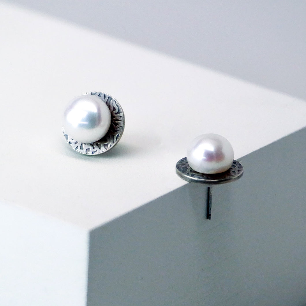 Eclipse Studs in Patina - Sterling Silver, White Freshwater Button Pearls - TIN HAUS Jewelry