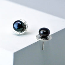 Load image into Gallery viewer, Eclipse Studs in High Polish - Sterling Silver, Peacock Freshwater Button Pearls - TIN HAUS Jewelry