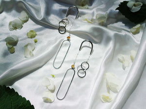 Equilibrium Earrings - Sterling Silver, Gold Rutilated Quartz - TIN HAUS Jewelry
