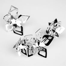 Load image into Gallery viewer, Futuristic Flower Ear Climbers - Sterling Silver, One of a Kind - TIN HAUS Jewelry